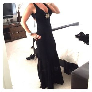Long Black Evening Dress Size 6 with Silver jewels
